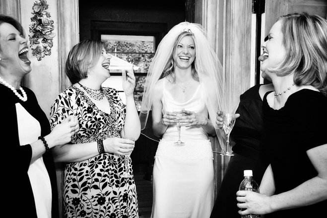 eclectic MN wedding photography - bridesmaids share a toast