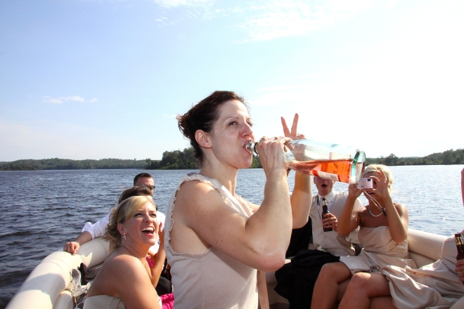 Natural MN wedding Photography- wedding party on the boat