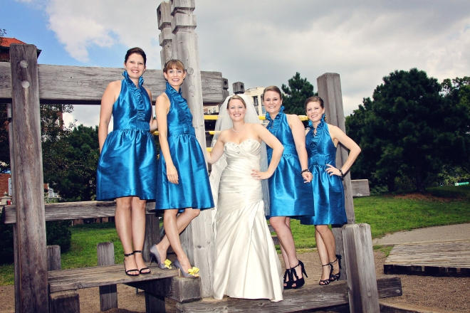 BrideandBridesmaidssportingvibrantbluedresses-DMP